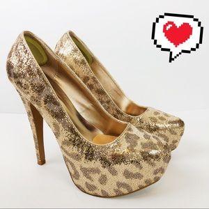 Charlotte Russe Gold Leopard Stilletos Size 8 D241
